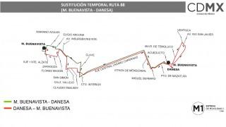 """Sistema M1 sustituye servicio en Ruta """"Metro Buenavista - Danesa"""""""