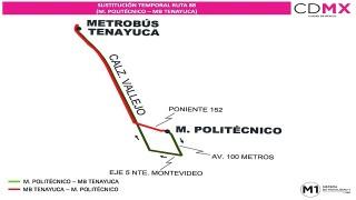 """Sistema M1 sustituye servicio en ruta """"Metro Politécnico - San Andrés Tlanepantla"""""""